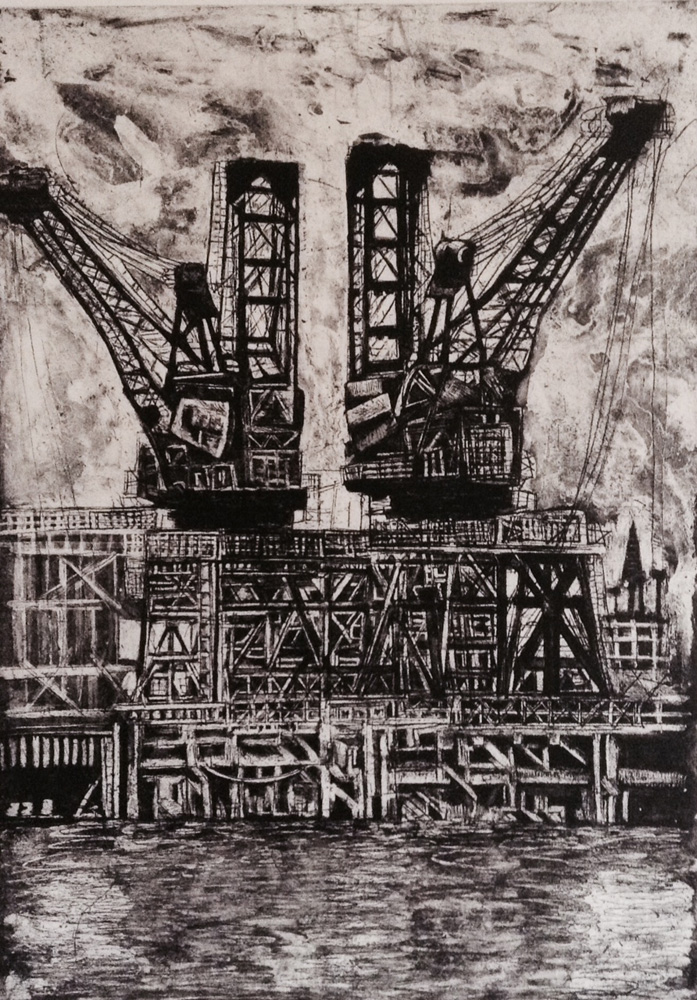 """The Derricks at Battersea"" - Etching"