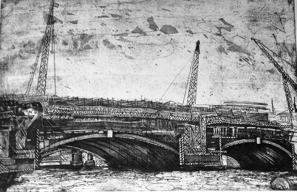 """Blackfriars Bridge under Construction"" - Etching"