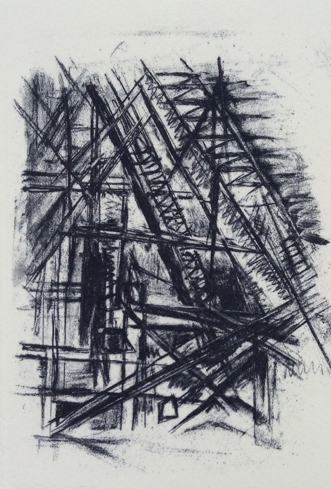 """Study for The Shard"" - Etching with litho tusche"