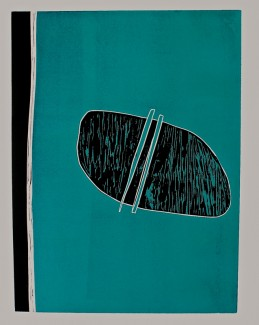 Turquoise Potato Peelings - Reduction woodblock. 76x56cm