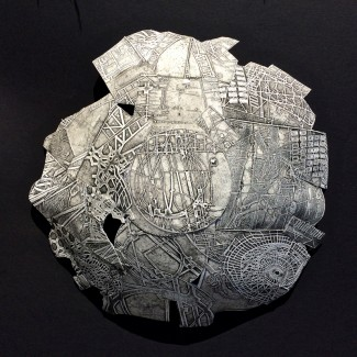 IO OI iv 3D fragmented hemisphere, etching, aquatint