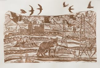 Wetlands Nature Tale Linocut (4) - Anna AlcocK