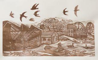 Wetlands Tale Industry Linocut (2) - Anna AlcocK