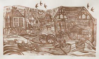 Wetlands Tale Paper Linocut (1) - Anna Alcock