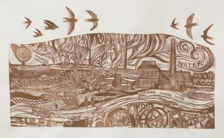 Wetlands Tale Water Linocut (3) - Anna Alcock