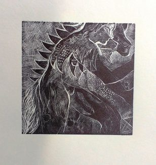 Dante, She-Wolf and Lion: Wood Engraving - Anna Alcock