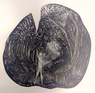 The Sun is Silent: Wood Engraving State 2 - Anna Alcock