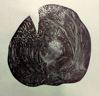 The Sun is Silent: Wood Engraving State 1 - Anna Alcock