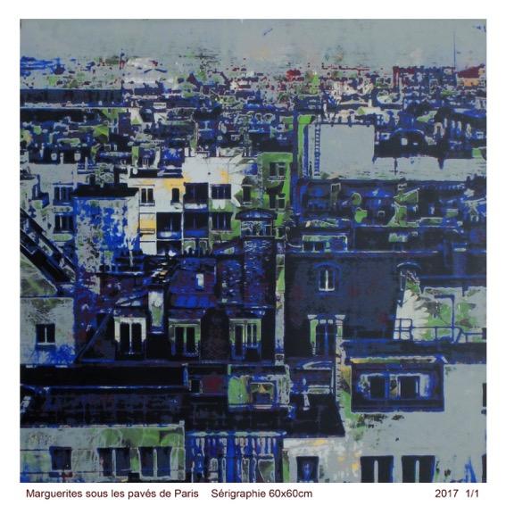 Marguerites sous les pavés de Paris, Screenprinting 1/1 2017